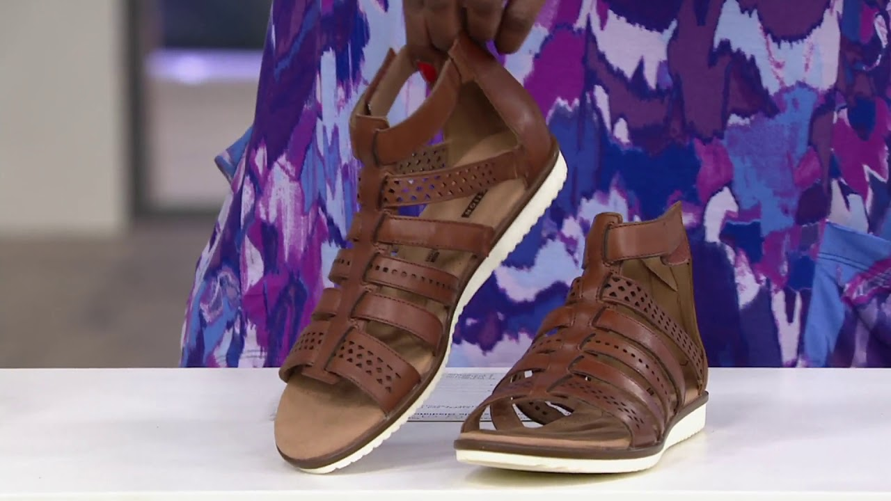 0f00299d932e Clarks Leather Adjustable Gladiator Sandals - Kele Lotus on QVC ...