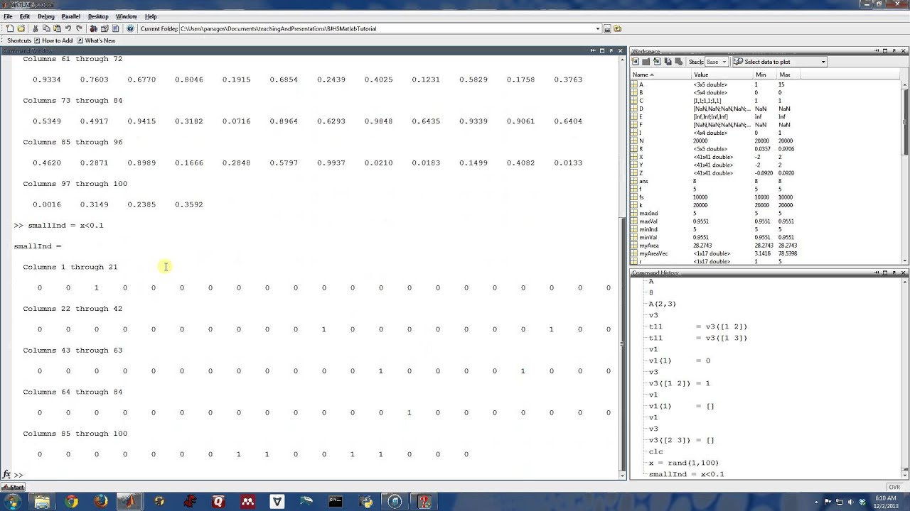 Find matlab indices