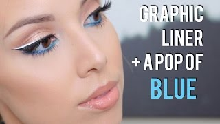 Graphic liner with a pop of Blue