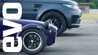 Range Rover Sport SVR v Caterham Seven 360R | evo drag races