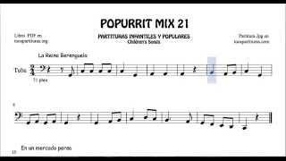 21 de 30 Popurrí Mix Partituras Populares Infantiles de Tuba La Reina Berenguela