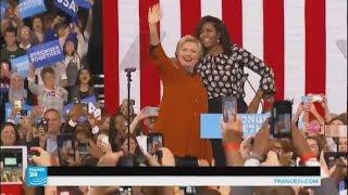 ميشيل أوباما تظهر للمرة الأولى إلى جانب كلينتون خلال تجمع انتخابي