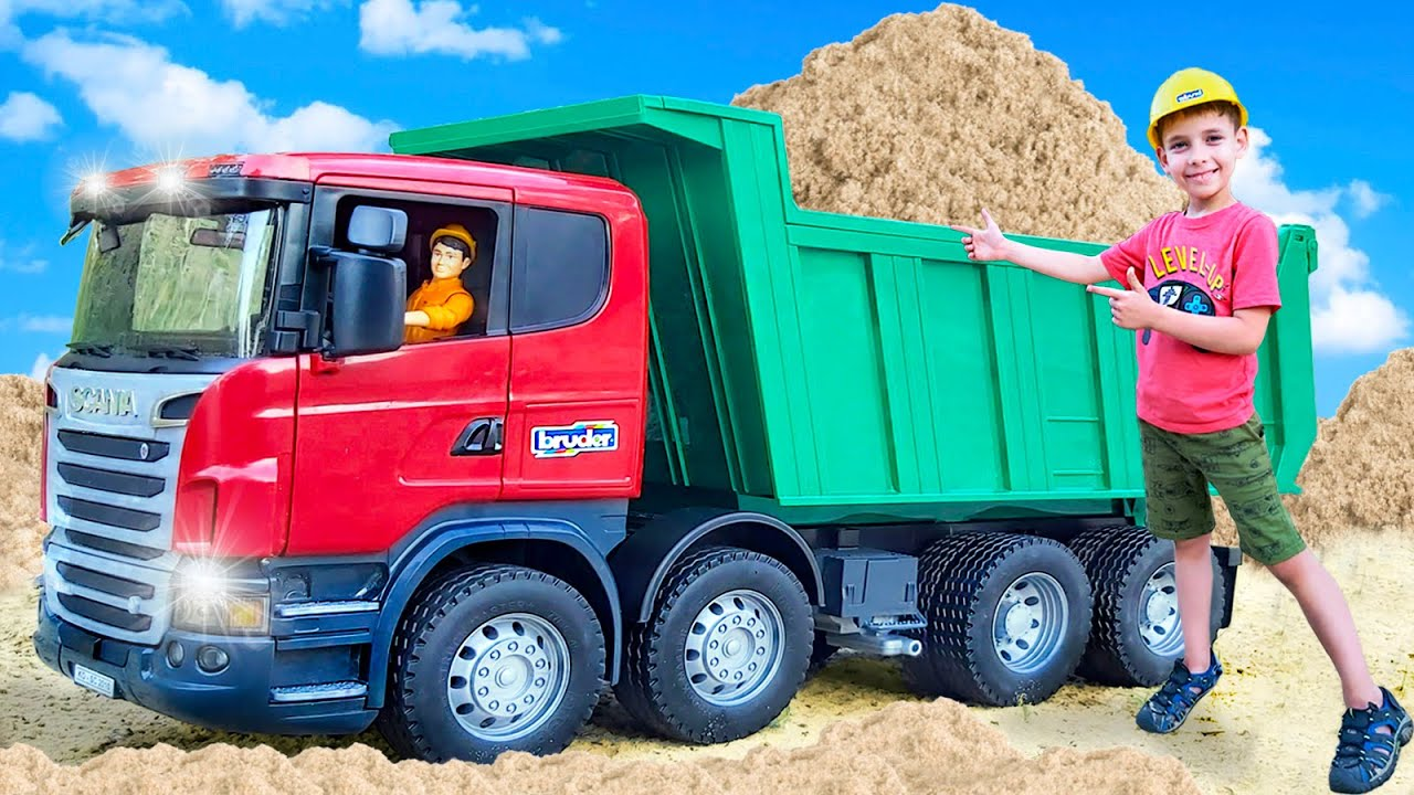 Funny Stories for kids - Bruder Dump Truck, Tractor, JCB Excavator and other construction cars