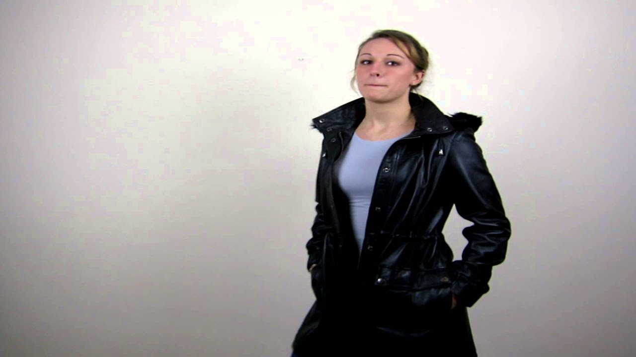 Women's Black Leather Parka Coat with Hood - Abby - YouTube