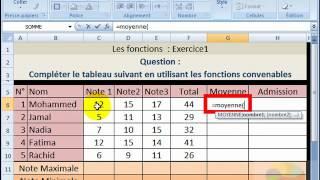 Exercice1 et correction sur les fonctions sous Excel - Excel functions Exercise