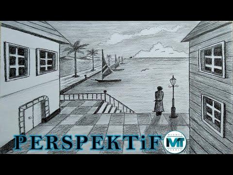 Tek Noktalı Perspektif Karakalem Manzara Nasıl Çizilir - One Point Perspective Drawing