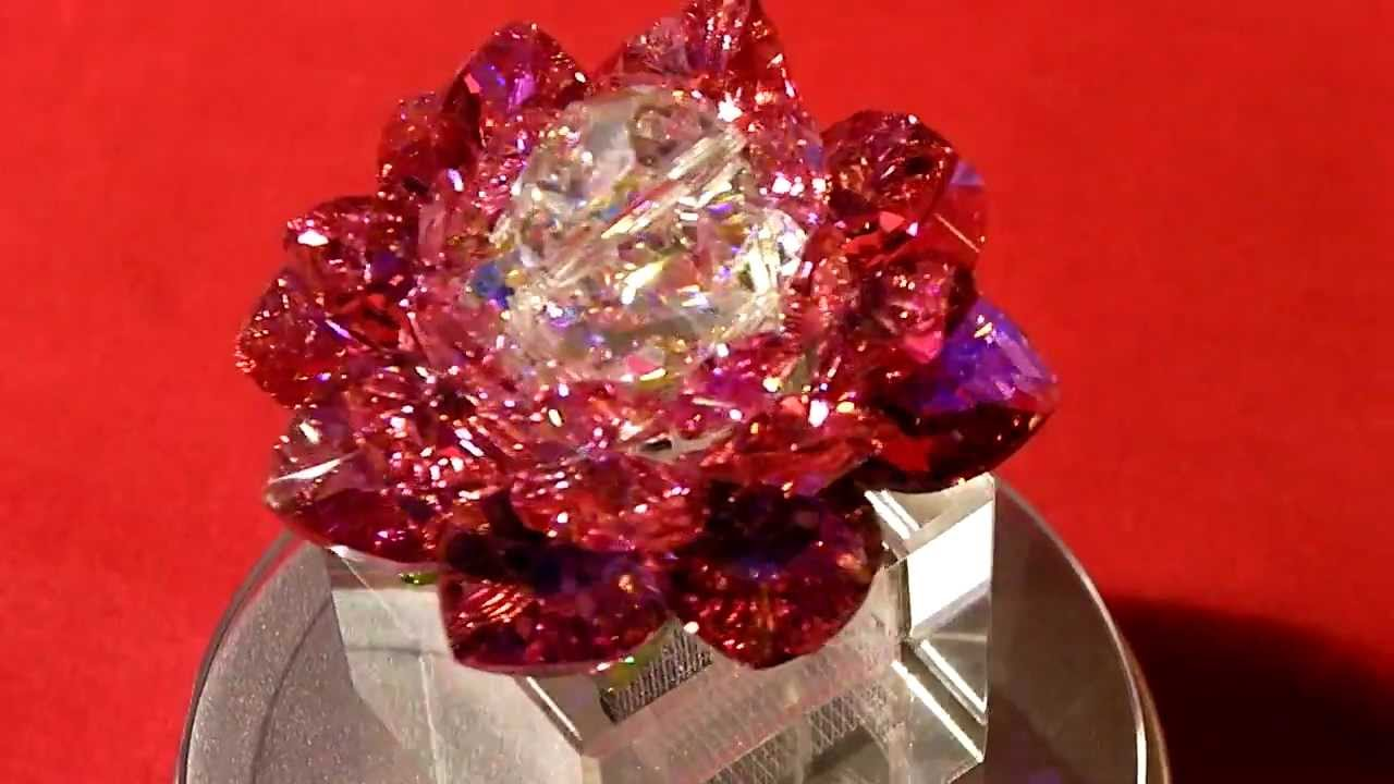 Swarovski Crystal Lotus Flower Rose Red Youtube