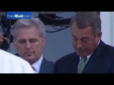 John Boehner cries as he hears the Pope speech.