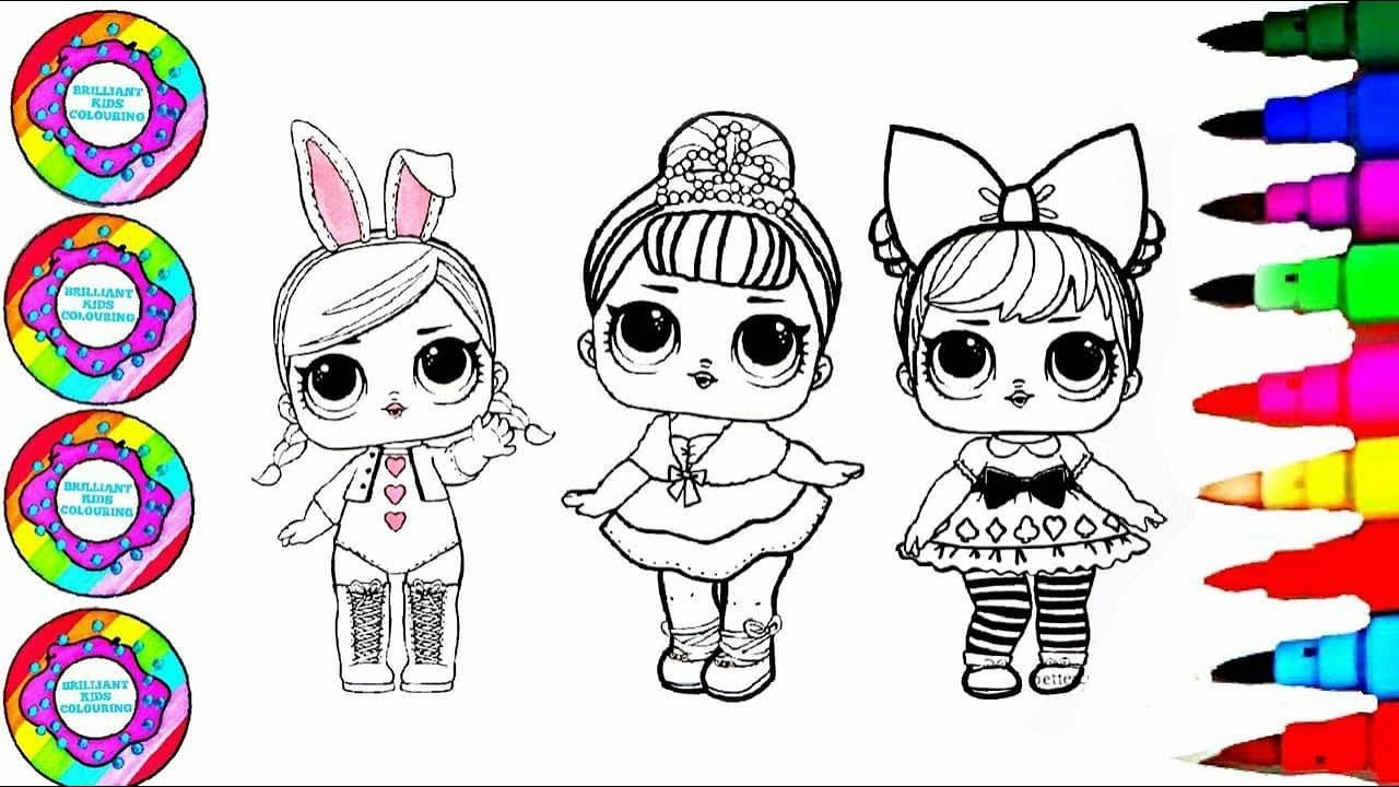 Drawing and coloring 3 little babies with big eyes coloring pages l brilliant kids colouring