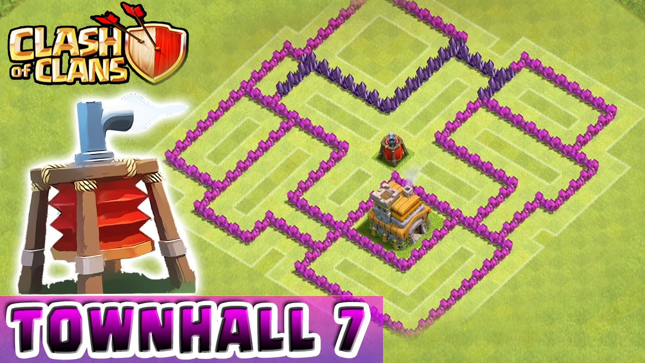 Clash Of Clans Air Sweeper Defense Strategy Townhall Level 7 Hybrid Th7 Defense Strategy Youtube