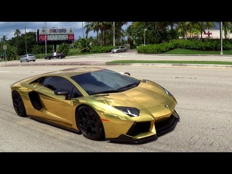 Worlds First Gold Plated Lamborghini Aventador Lp700 Revs Drive In