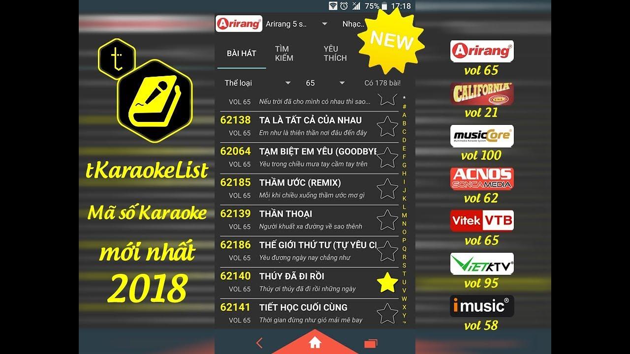 Mã số Karaoke Arirang vol 65 🎤 tKaraokeList