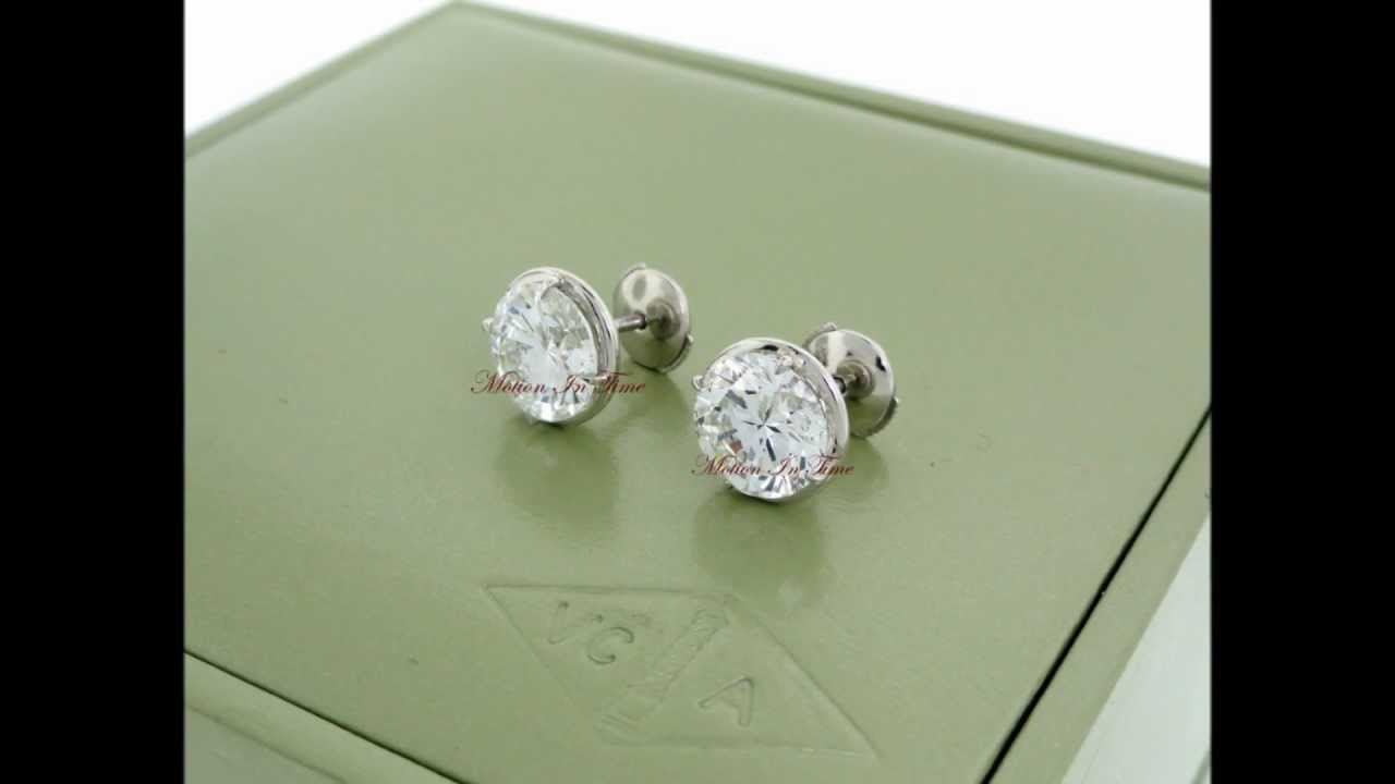 Van Cleef Arpels Diamond Stud Earrings Platinum Gia 3 00ct Internally Flawless