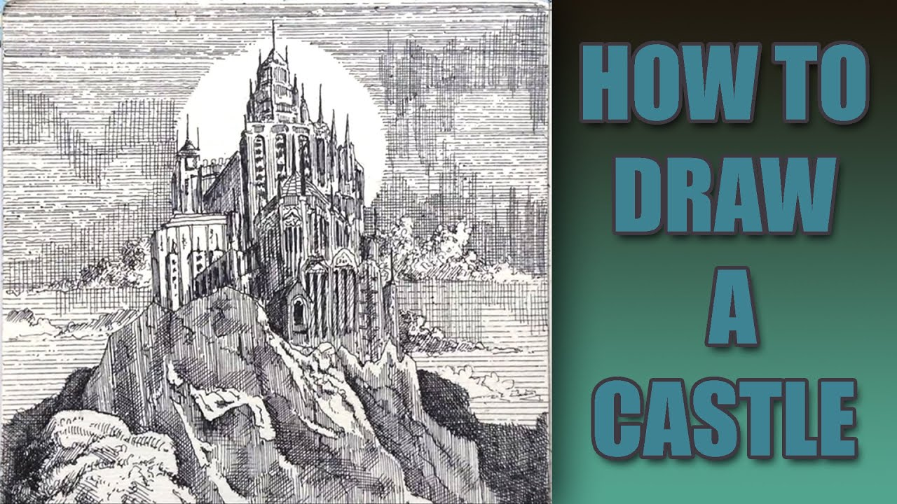how to draw a realistic castle pen ink process youtube