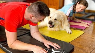 The Funniest Workout with the Golden Retriever!