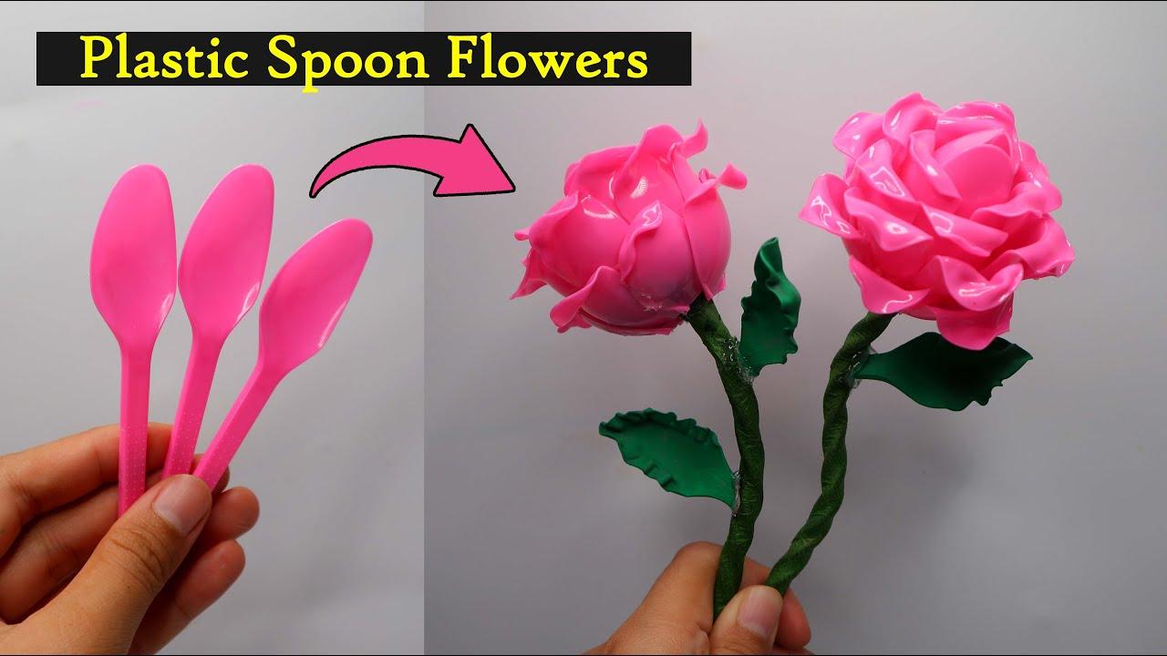 Ide Kreatif Bunga Mawar Dari Sendok Plastik Plastic Spoon Flowers Youtube