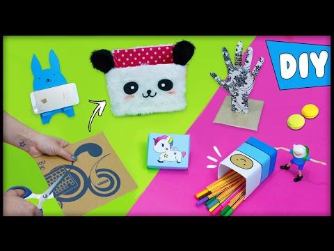 10 DIYs INCRÍVEIS USANDO PAPELÃO 📦😻 DIY Panda, Kawaii, Finn e +