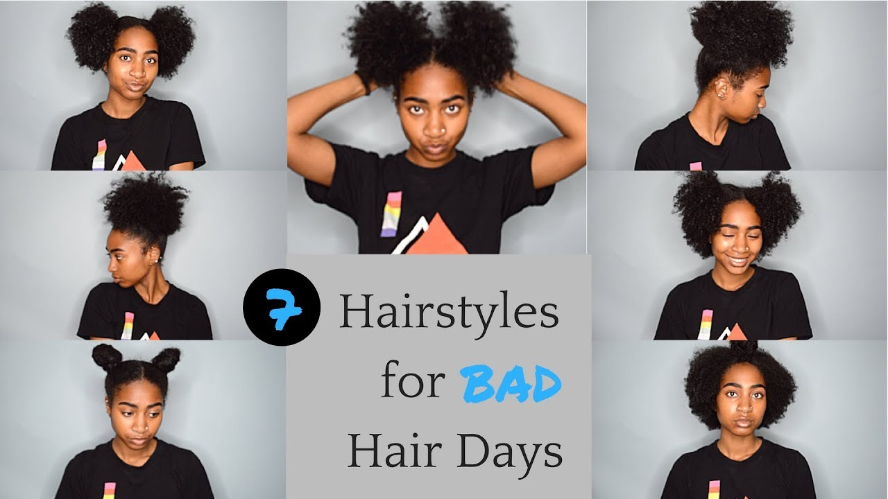 7 Hairstyles For Bad Wash Go Days Easy Natural Hairstyles For Bad Hair Days Youtube