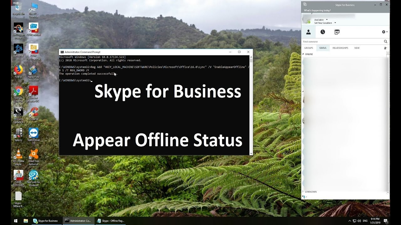 Microsoft Skype for Business Appear Offline status guide