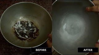 Cleaning Hack | Tip-How To Clean Burnt Aluminium Vessel | Kadai Cleaning | Kadai Cleaning in hindi