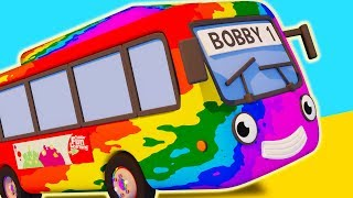 Bobby The Bus Changes Color! | Rainbow Paint Truck Wash | Gecko's Garage | Bus Videos For Kids