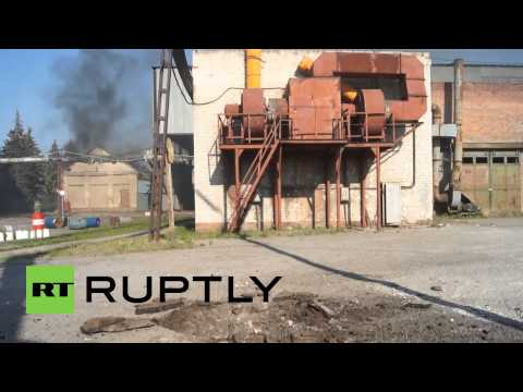 Ukraine: Slavyansk concrete factory burns after shelling