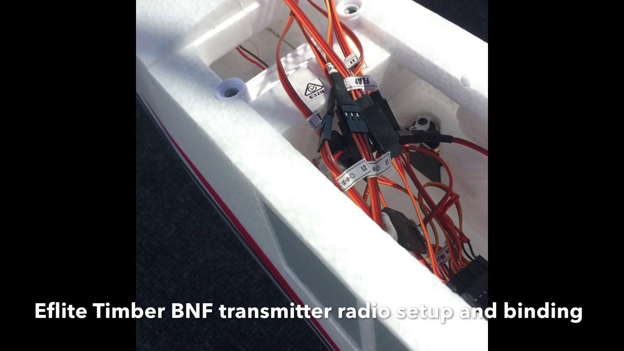 bind timber bnf rc airplane and radio setup and binding [ 1280 x 720 Pixel ]