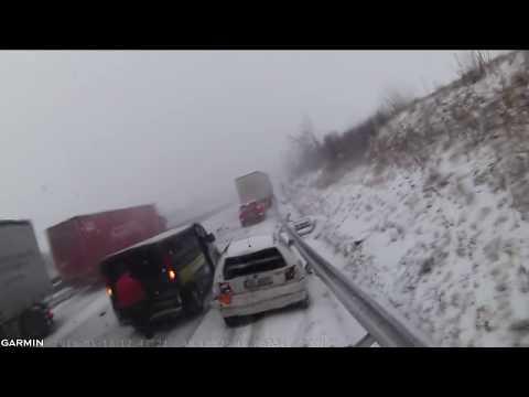 Hromadná nehoda na D1 u Brna z pohledu řidiče kamionu (16.1.2018)