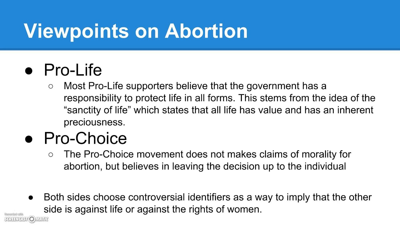 what would be a good thesis statement for abortion