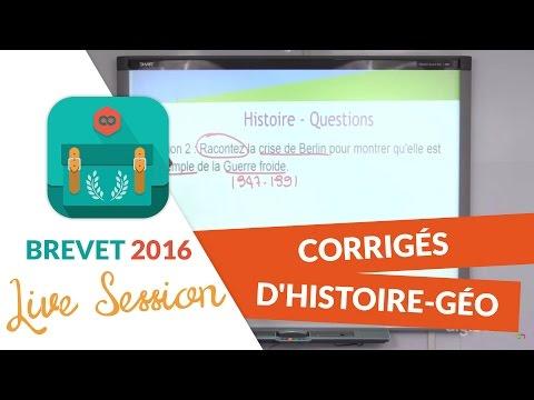 Brevet 2016 : Corrigés d'Histoire-Géo