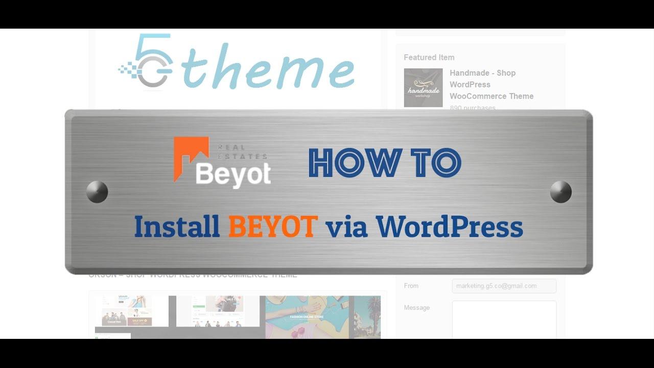 How to Install BEYOT theme via WordPress - One click install demo ...