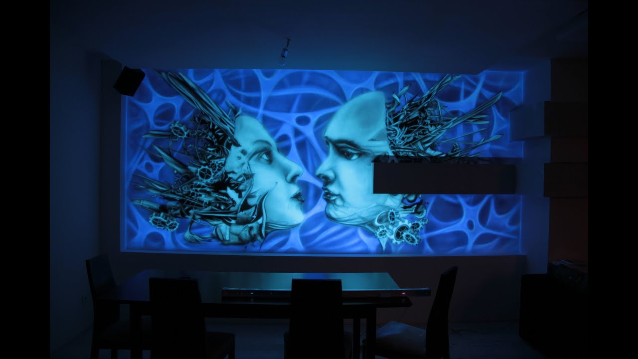 Black light mural biomechanical mural youtube for Black light mural