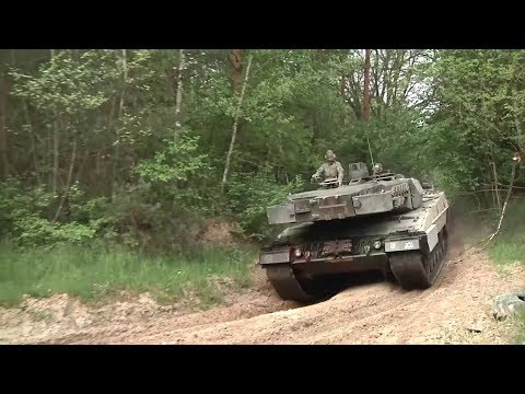Polish Leopard Tanks On the Move in Poland