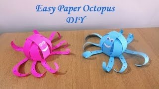 How to make an Easy Paper Octopus (1 Sheet of Paper) ~ DIY ~ Steps..