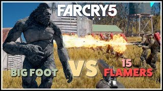[Far Cry 5] Big Foot vs 15 Flamers & other Human Armies - Power of the Yeti