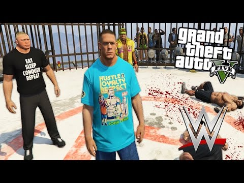 """GTA 5 Mods - WWE """"JOHN CENA"""" MOD w/ BROCK LESNAR, HULK HOGAN & MORE! (GTA 5 Mods Gameplay)"""