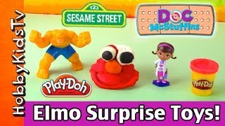 PLAY-DOH Elmo SURPRISE Toys! Doc McStuffins HobbyBaby & MARVEL The Thing smashes By HobbKidsTV