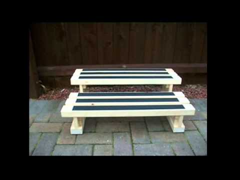 Hi-Line benches wooden steps