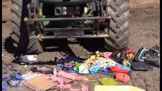 Tractor crush plastic toys
