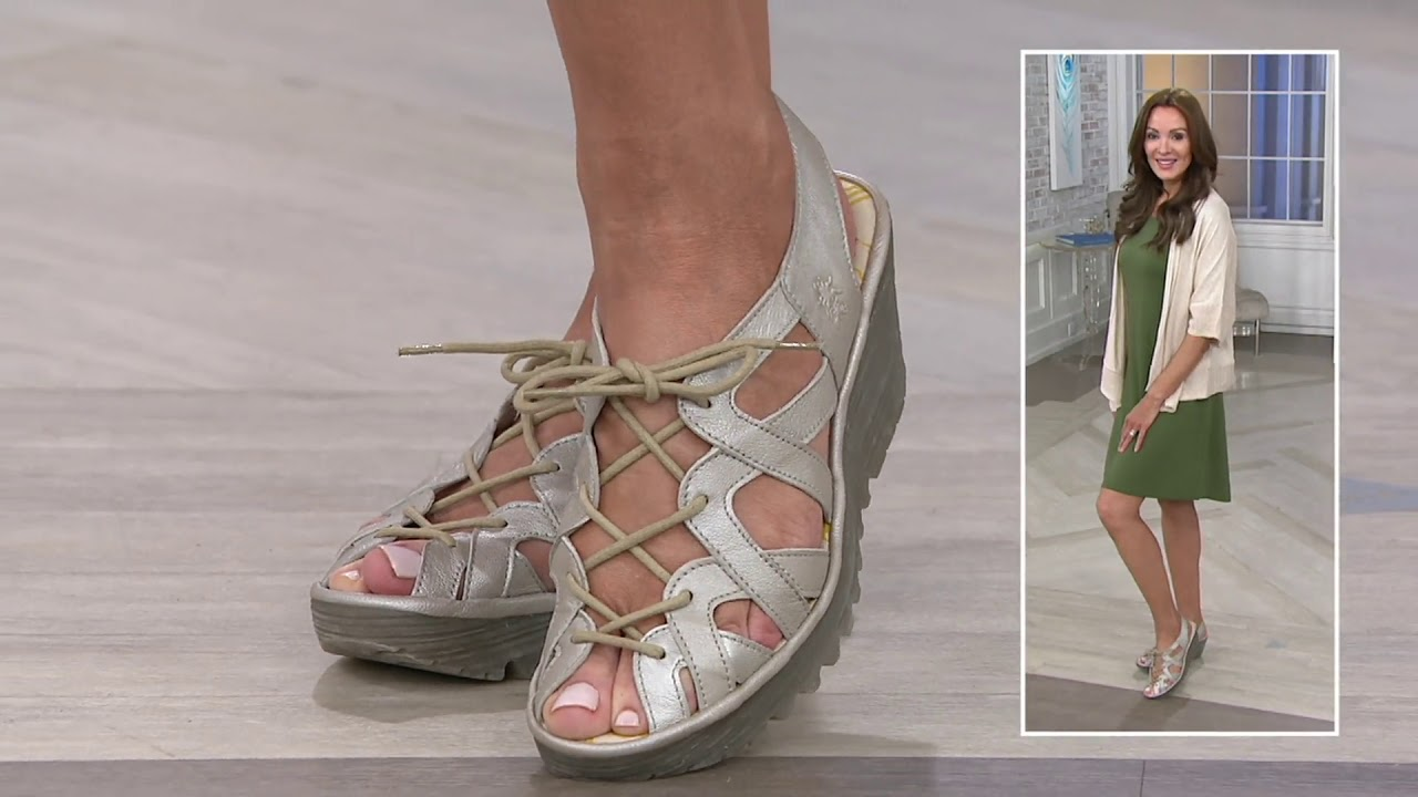 6563cba26a0b FLY London Leather Lace Up Wedge Sandals - Yapi on QVC - YouTube