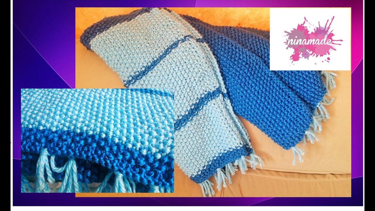 Diy como hacer una manta para tu sof con punto de arroz - Como hacer punto de lana para principiantes ...