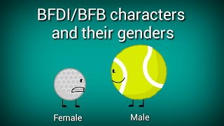 Bfdi/bfb characters and their genders (from female to male)