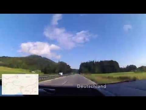 Driving from Rjieka, Croatia to Munich, Germany (90x timelapse + map)