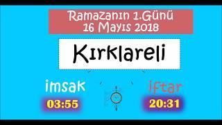 2018 Marmara Bölgesi İL İL İMSAK ve İFTAR Vakitleri (1.Gün - 16 Mayıs 2018)