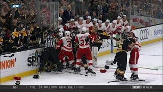 Bruins-Wings scrum, near goalie fight 12/1/18