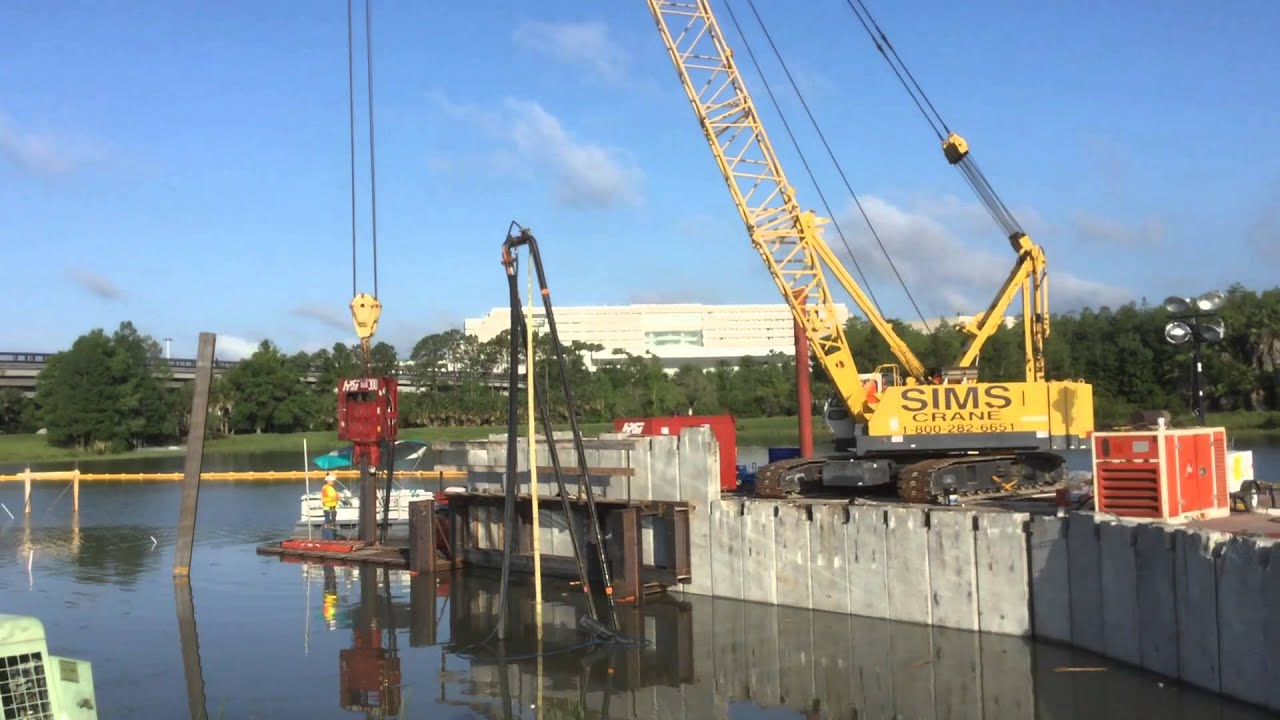 Driving Steel Sheet Pile For Seawall Preparation 5 16 2015