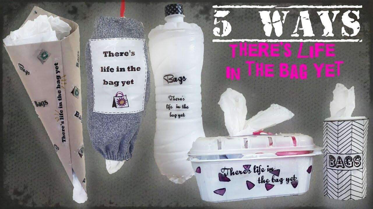 5 Ways Diy Plastic Bags Dispenser From Old Pant Bottle Sheet Bag Holder Storage