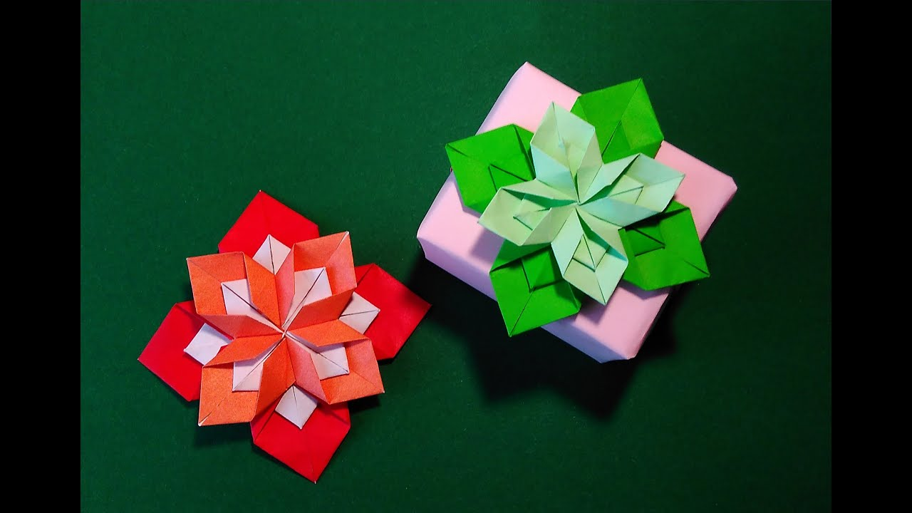 Origami 8 Petals Flower Gift Box Decorating Ideas Youtube
