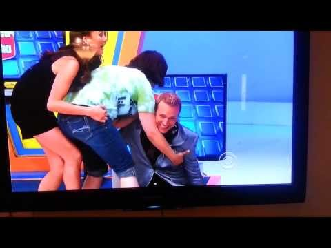 The Price is Right Fail - Lady falls into George Gray knocking him into TVs - Chrissy Teigen