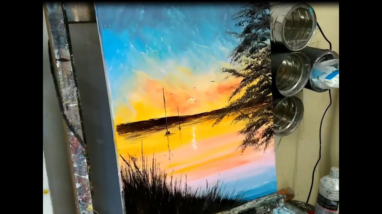 Peinture Au Couteau Facile Coucher De Soleil Sur Le Lac Par Nelly